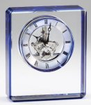 Elegant Crystal Clear Quartz Clock  Award  With Blue Edge  Laserable Desk Clocks