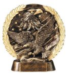 Resin Plate -Eagle On Flag Eagle Trophies Awards