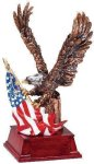 Eagle and Flag Copper With Cherry Base Eagle Trophies Awards