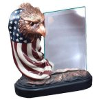 Resin Eagle and Flag with Glass Eagles