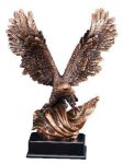 Bronze Eagle With Flag Eagles
