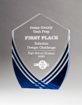 Shield Series Clear Acrylic with Polished Lines and Blue Metallic Accent Employee Awards