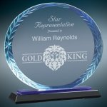 Oval Blue Accent Glass Employee Awards