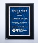 Black High Luster Plaque with Blue Marble Plate Employee Awards