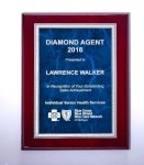 Rosewood High Lustr Plaque with Blue Marble Plate Employee Awards