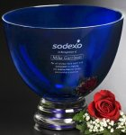 Cobalt Pedestal Bowl Employee Awards