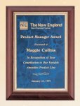 Cherry Finish Wood Plaque with Sapphire Marble Plate Employee Awards