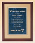 Cherry Finish Wood Plaque with Florentine Plate Employee Awards