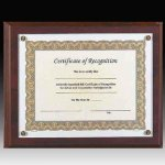 Walnut Screw Down Certificate Plaque Employee Awards