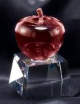 Crystal Red Apple On Base Employee Awards