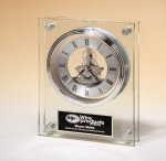 Large Glass Clock with Skeleton Movement Executive Gift Awards