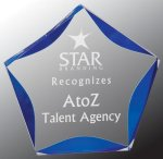 Blue Luminary Star Acrylic Executive Gift Awards
