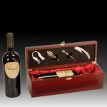 Rosewood Finish Wine Presentation Box with Tools Executive Gift Awards