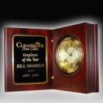 Rosewood Finish Book Clock Executive Gift Awards