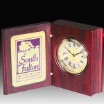 Rosewood Finish Book Style Clock Executive Gift Awards