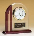 Arched Clock with Rosewood Piano Finish Post and Base Executive Gifts