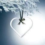 Beveled Jade Glass Heart Ornament Executive Gifts