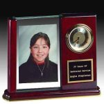 Piano Finish Desk Clock With Photo Holder Executive Gifts
