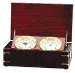 Clock and Thermometer in Rosewood Piano Finish Box Executive Gifts