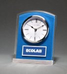 Glass Clock with Blue Carbon Fiber Design Executive Gifts