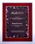 Airflyte® Rosewood High Lustr Plaque with Violet Marble Border Design Executive Plaques