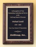 Walnut Stained Piano Finish Plaque with Brass Plate Executive Plaques