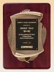 Rosewood Piano Finish Plaque with Antique Bronze Casting Executive Plaques