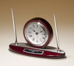 Rosewood Piano Finish Desk Clock and Pen Set with Silver Aluminum Accents Gift Items