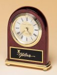 Rosewood Piano Finish Desk Clock on a Brass Base Gifts Personalized