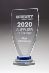 Chalice Series Glass Award Blue and Clear Glass Pedestal Base Golf Glass and Crystal Awards