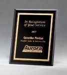 Black Glass Plaques with Gold Borders Golf Plaques