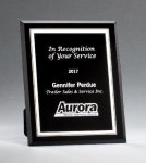 Black Glass Plaques with Silver Borders Golf Plaques