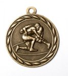 Wrestling 2 Round Sculptured Medal   High Relief Series Medals