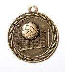 Volleyball 2 Round Sculptured Medal   High Relief Series Medals