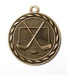 Hockey 2 Round Sculptured Medal    High Relief Series Medals