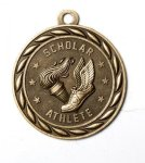 Scholar Athlete 2 Round Sculptured Medal   High Relief Series Medals