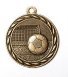 Soccer 2 Round Sculptured Medal   High Relief Series Medals