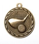 Golf 2 Round Sculptured Medal   High Relief Series Medals