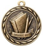 Language Arts  2 Round Sculptured Medal   High Relief Series Medals