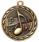 Music 2 Round Sculptured Medal    High Relief Series Medals
