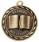 Readers Are Leaders  2 Round Sculptured Medal    High Relief Series Medals