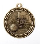 Basketball 2 Round Sculptured Medal   High Relief Series Medals