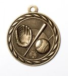 Baseball 2 Round Sculptured Medal   High Relief Series Medals
