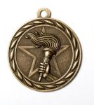 Victory Torch 2 Round Sculptured Medal   Hockey