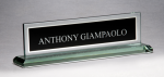 Glass Name Plate with Black Center Jade Glass Awards