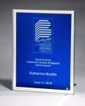 Glass Plaque with Blue Center and Mirror Border Jade Glass Awards