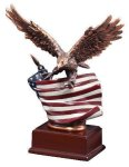 Resin Eagle With Flag Large Figure Trophies