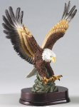 Eagle In Flight On Wood Base Large Figure Trophies