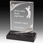 Clear Acrylic Trophy Award with Routed Accents and Black Marble Base Marble Acrylic Awards Trophy