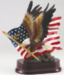 Eagle with American Flag On Base Metallic Painted Series
